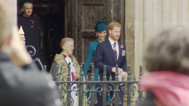 prince harry and duchess of cambridge leave westminster abbey after attending anzac day service of commemoration and thanksgiving together - anzac day stock videos & royalty-free footage