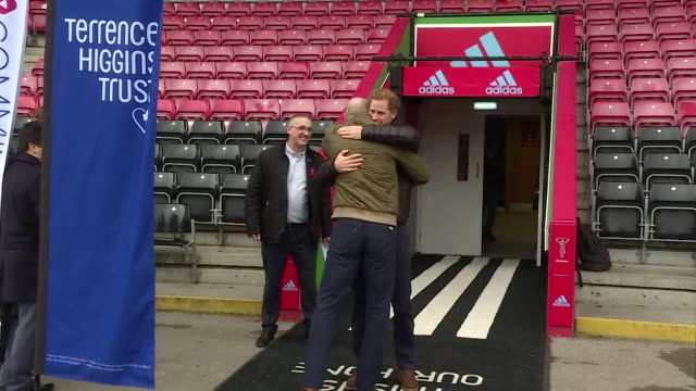 prince harry and former rugby captain gareth thomas greet each other warmly as they attend a hiv awareness event at twickenham rugby ground - gareth thomas rugby player stock videos & royalty-free footage