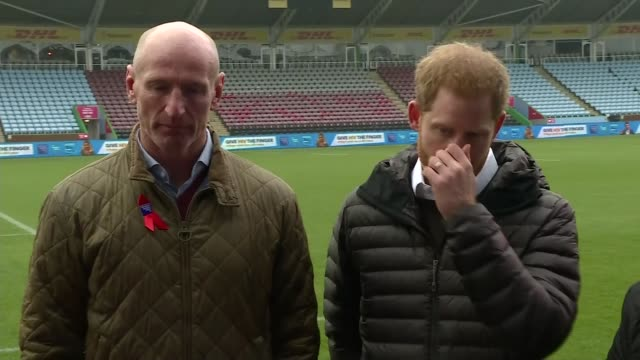 prince harry and gareth thomas campaign for hiv awareness england london ext prince harry duke of sussex and gareth thomas chatting to players close... - gareth thomas rugby player stock videos & royalty-free footage