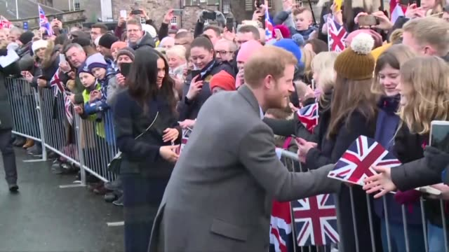 prince harry and his fiancee meghan are in edinburgh on tuesday where they visited edinburgh castle - fiancé stock videos and b-roll footage