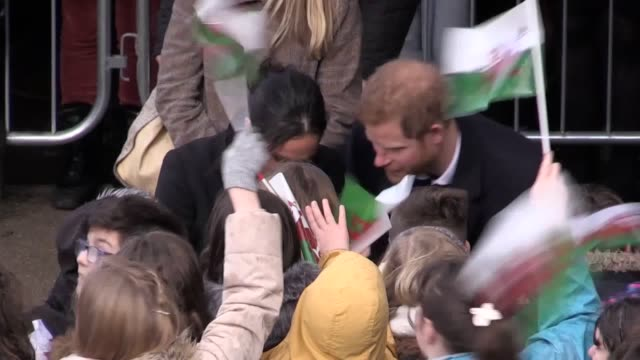 Prince Harry and his fiancee Meghan Markle arrive at Cardiff Castle for a tour and meet members of the public eager to congratulate them on their...