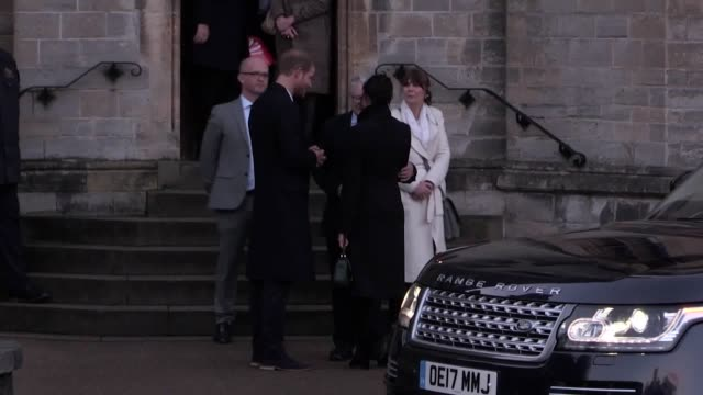 prince harry and his fiancee meghan markle leave cardiff castle after a visit to the city - fiancé stock videos and b-roll footage