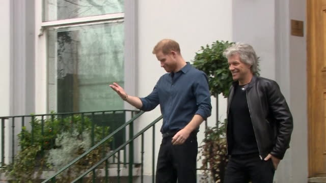 prince harry and jon bon jovi walk down steps of abbey road studios they are there to record charity single for invictus games - steps stock videos & royalty-free footage