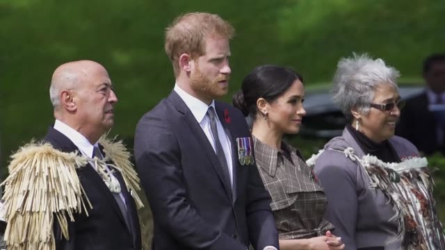 Prince Harry and Meghan arrive in Wellington to start the last leg of their 16 day four nation tour after attending the closing ceremony of the 2018...