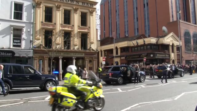 prince harry and meghan markle arrive at the crown bar in belfast as part of their royal tour of northern ireland - harry meghan tour stock videos and b-roll footage