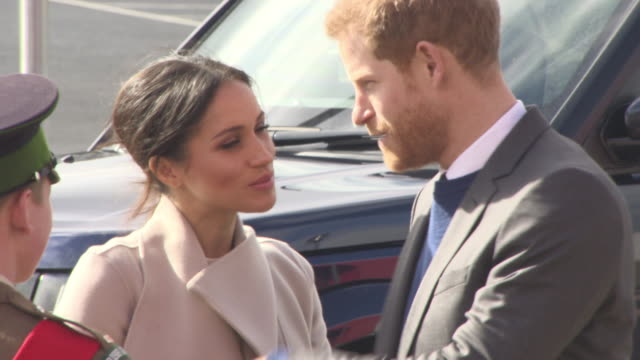 prince harry and meghan markle arriving at eikon exhibition centre visit to northern ireland on march 23 2018 in belfast northern ireland - prince harry stock videos & royalty-free footage