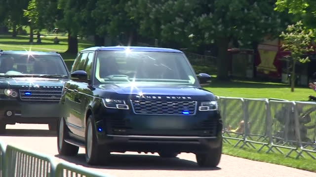 prince harry and meghan markle arriving at windsor castle for a private wedding rehearsal - prince harry stock videos and b-roll footage