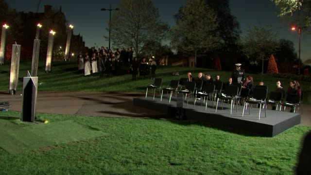 prince harry and meghan markle attend anzac dawn service england london hyde park corner photography*** anzac officer announcing safety precautions... - anzac day stock videos & royalty-free footage