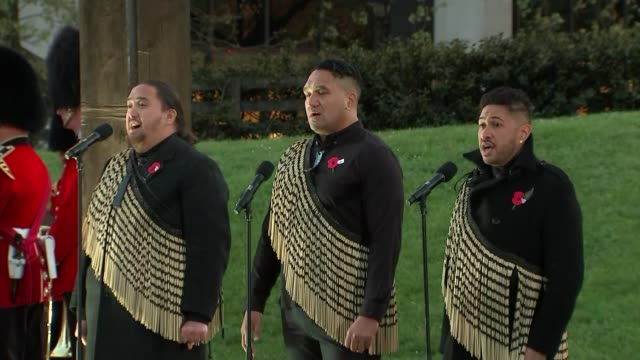 prince harry and meghan markle attend anzac dawn service traditional maori performances sot / upsot haka performance / harry and meghan depart with... - anzac day stock videos & royalty-free footage