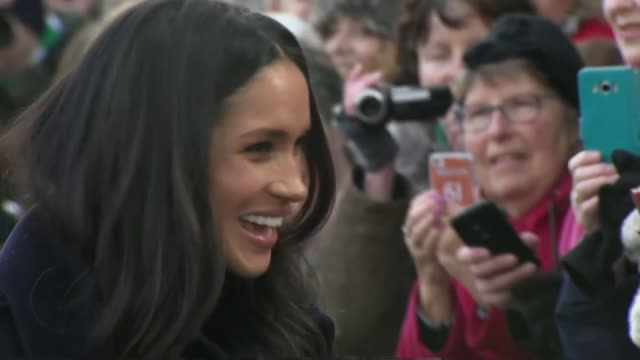 Prince Harry and Meghan Markle attend first official engagements in Nottingham ENGLAND Nottingham EXT Various shots of Prince Harry and his fiancee...