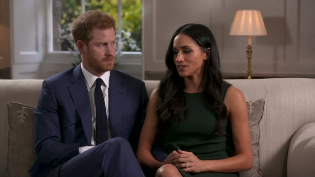 Prince Harry and Meghan Markle attend first official engagements in Nottingham LIB / Prince Harry and fiancée Meghan Markle sitting for their...