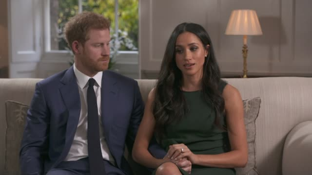 prince harry and meghan markle engagement announced england london kensington palace int prince harry and meghan markle engagement interview sot it's... - verlobung stock-videos und b-roll-filmmaterial