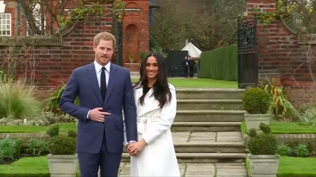 stockvideo's en b-roll-footage met prince harry and meghan markle engagement announced england london kensington palace sunken garden ext various shots of prince harry and meghan... - channel 4 news