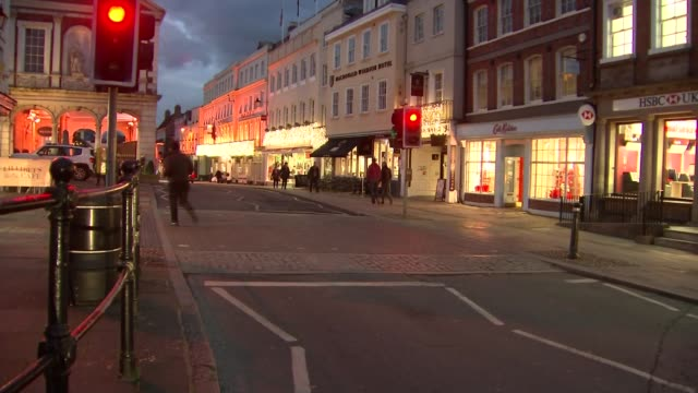 Prince Harry and Meghan Markle engagement GVs of Windsor Castle and shops Various shots of illuminated decorations over high street and Christmas...