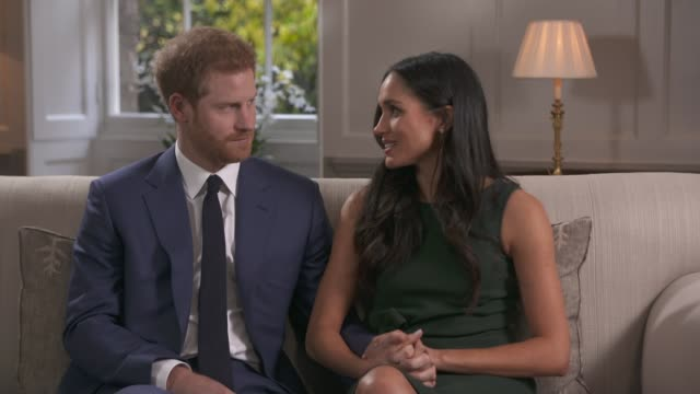 prince harry and meghan markle engagement interview england london int prince harry and fiancee meghan markel engagement interview sot your royal... - interview stock videos & royalty-free footage