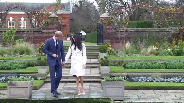prince harry and meghan markle engagement london reaction england london kensington palace sunken garden ext prince harry and meghan markle posing... - fototermin stock-videos und b-roll-filmmaterial