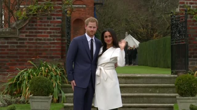 prince harry and meghan markle engagement wedding plans prince harry and meghan markle photocall on announcement of engagement - kensington palace video stock e b–roll