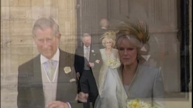 prince harry and meghan markle engagement wedding plans lib / 942005 ext prince charles and camilla duchess of cornwall on wedding day - 2005 stock-videos und b-roll-filmmaterial