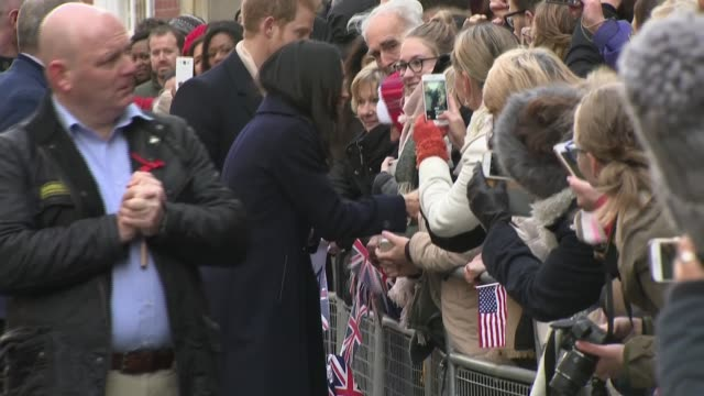 prince harry and meghan markle in nottingham aids charity arrival main camera england nottingham ext prince harry and meghan markle arrival and... - royalty stock videos & royalty-free footage