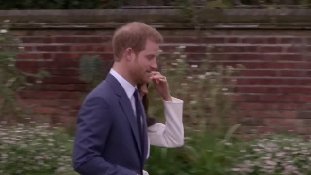 prince harry and meghan markle in the sunken garden at kensington palace london after the announcement of their engagement - kensington palace video stock e b–roll