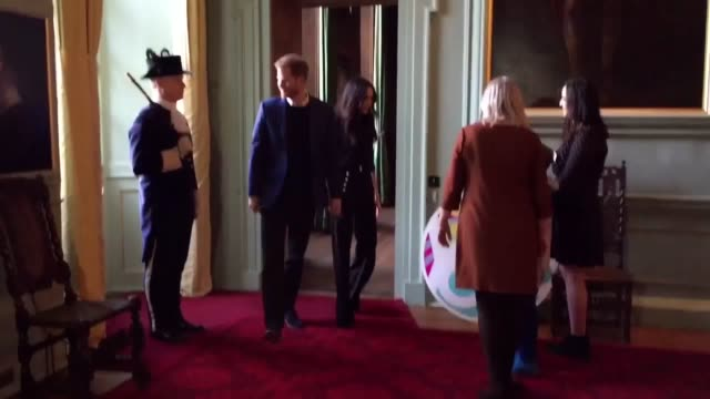 prince harry and meghan markle meet nicola sturgeon at a reception to celebrate the achievements of young people - edinburgh stock videos & royalty-free footage