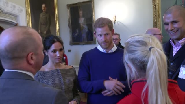 prince harry and meghan markle tour cardiff castle during their visit to cardiff gvs harry and meghan meeting young people in gallery / gvs harry... - hamper stock videos & royalty-free footage