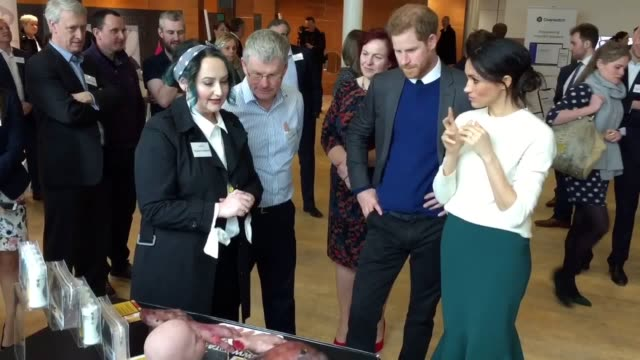 prince harry and meghan markle visit catalyst inc in belfast a hub for young scientists where they view all the products on offer - belfast stock videos & royalty-free footage