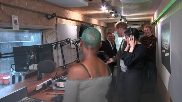 prince harry and meghan markle visit community radio station in brixton england london brixton reprezent radio int prince harry and meghan markle... - harry meghan tour stock videos and b-roll footage