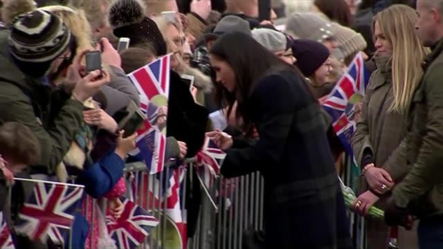 prince harry and meghan markle visit edinburgh gvs military band / prince harry and meghan markle along meeting crowds during walkabout / prince... - edinburgh scotland stock videos & royalty-free footage