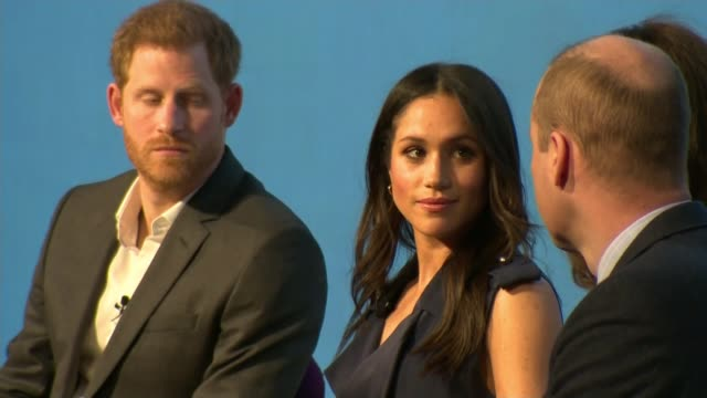 2600 members of public invited to windsor castle lib / 2822018 england london int prince harry speaking alongside his fiancée meghan markle at royal... - königshaus stock-videos und b-roll-filmmaterial