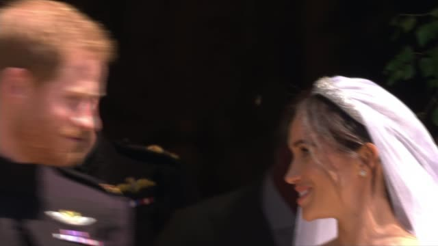 prince harry and meghan markle wedding day main events england berkshire windsor windsor castle st george's chapel sot*** prince harry duke of sussex... - meghan duchess of sussex stock videos and b-roll footage