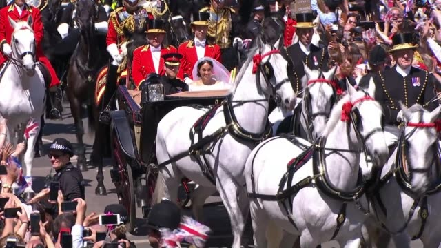 prince harry and meghan markle wedding day main events england berkshire windsor the long walk ext prince harry duke of sussex and meghan duchess of... - meghan duchess of sussex stock videos and b-roll footage