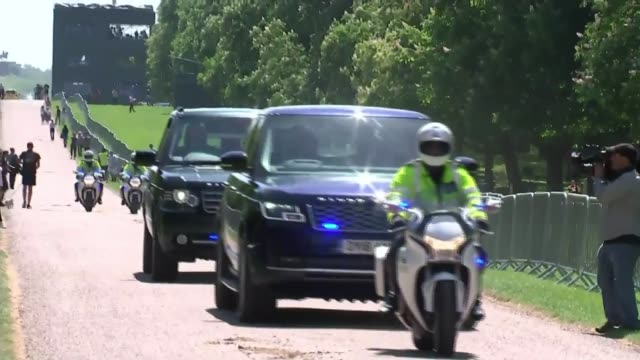 full dress rehearsal / meghan markle confirms her father will not attend england berkshire windsor windsor great park ext car with police motorcycle... - prince harry stock videos and b-roll footage