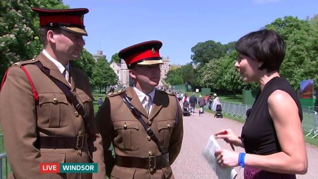 full dress rehearsal / meghan markle confirms her father will not attend windsor great park ext captain james faire and major tom seccombe interview... - prince harry stock videos and b-roll footage