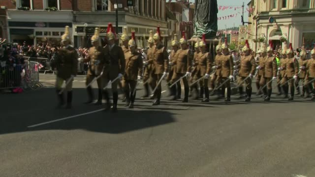full dress rehearsal / meghan markle confirms her father will not attend windsor ext various of marching bands and soldiers marching along high street - prince harry stock videos and b-roll footage