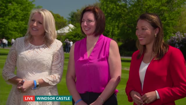 global media and tourists descend on windsor england berkshire windsor ext melissa davies angela bishop and jill macyshon live interviews sot - meghan harry stock videos and b-roll footage