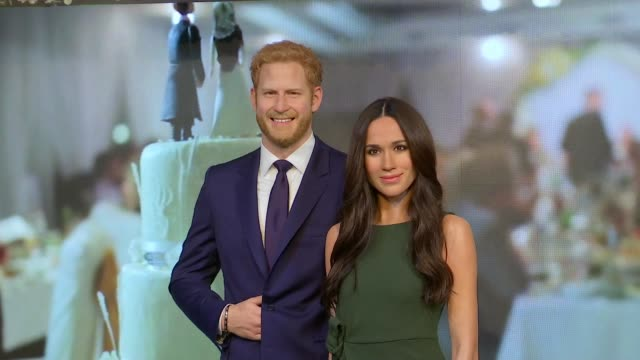 meghan markle waxwork unveiled at madame tussaud's france nice photography*** camilla duchess of cornwall and prince charles the prince of wales... - madame tussauds stock videos & royalty-free footage