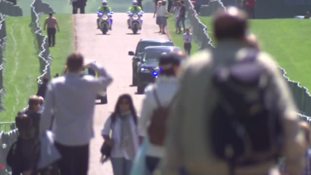 motorcade arrival at windsor castle for dress rehearsal england berkshire windsor ext motorcade carrying prince harry and his fiancée meghan markle... - prince harry stock videos and b-roll footage