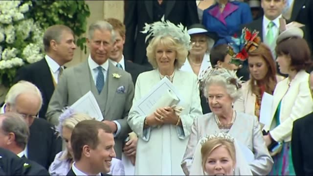 previous royal wedding dresses lib / england berkshire windsor ext prince charles prince of wales and his wife camilla duchess of cornwall standing... - prinz von wales stock-videos und b-roll-filmmaterial