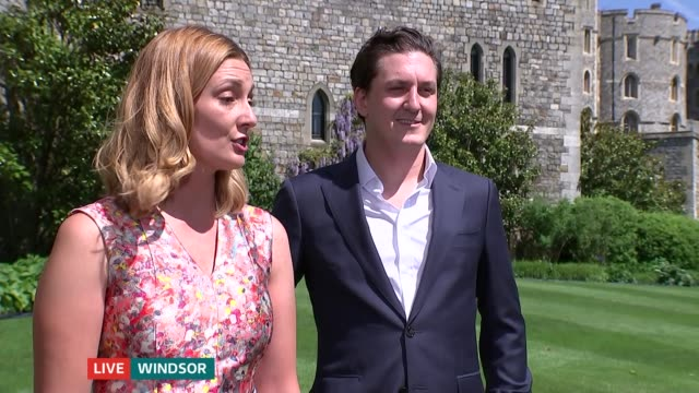 windsor castle kitchen preparations berkshire windsor the long walk meghan fay and hamish shephard live interview sot - meghan harry stock videos and b-roll footage