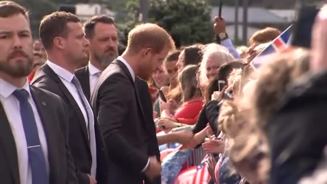 stockvideo's en b-roll-footage met prince harry and meghan, the duke and duchess of sussex, greet crowds at the pukeahu national war memorial in wellington during the royal tour to new... - bewakingspersoneel