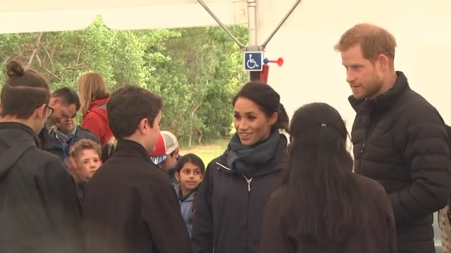 Prince Harry and Meghan the Duke and Duchess of Sussex meet with local youth ambassadors during visit to Abel Tasman National Park on day two of...