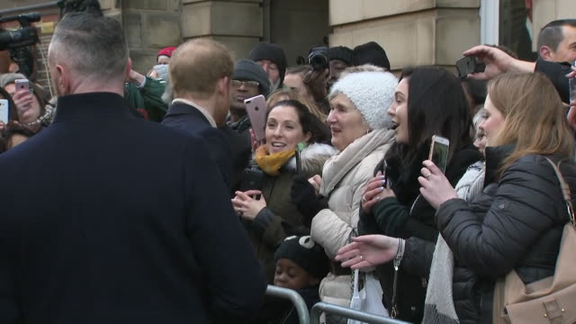 Prince Harry and new fiancee Meghan Markle greeting crowds in Nottingham