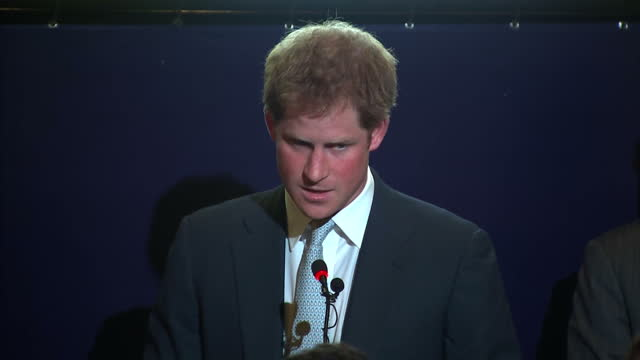 prince harry approach podium and deliver a statement on the queen's birthday about brazil - approaching stock videos & royalty-free footage
