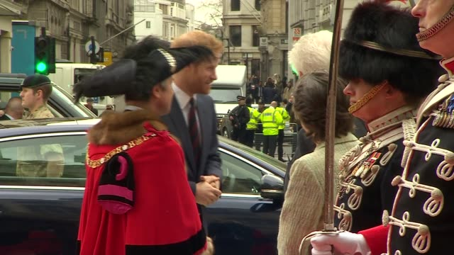 Prince Harry at Big Curry Lunch Reception ENGLAND London Guildhall EXT ***BEWARE Jeffrey Evans / Prince Harry out of car and along INT Prince Harry...