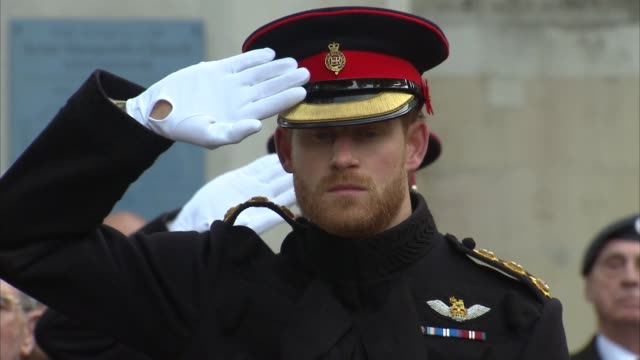prince harry attends field of remembrance ceremony at westminster abbey; england: london: westminster abbey: ext regimental dog next to poppy wreath... - 詩点の映像素材/bロール
