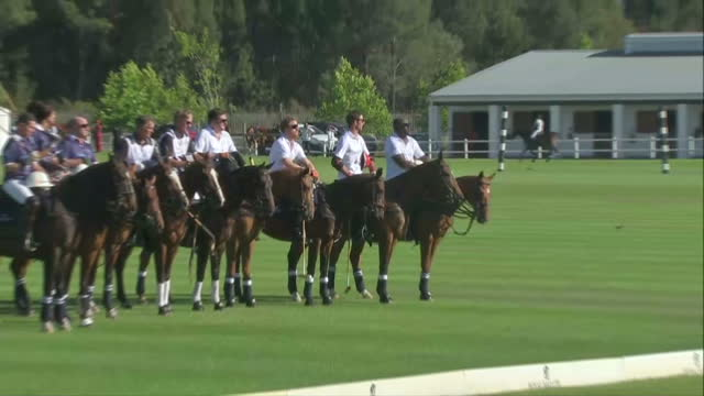 Prince Harry attends polo match for his Sentebale charity Shows exterior shots Prince Harry lined up with teammates during the British national...