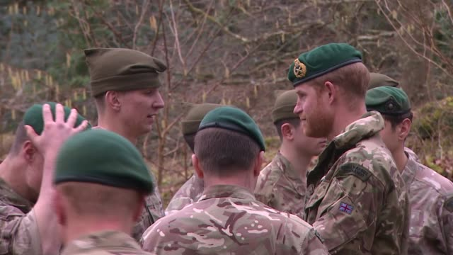 prince harry attends royal marines passing out ceremony; england: devon: bickleigh: 42 commando royal marines: ext various of prince harry, duke of... - military recruit stock videos & royalty-free footage
