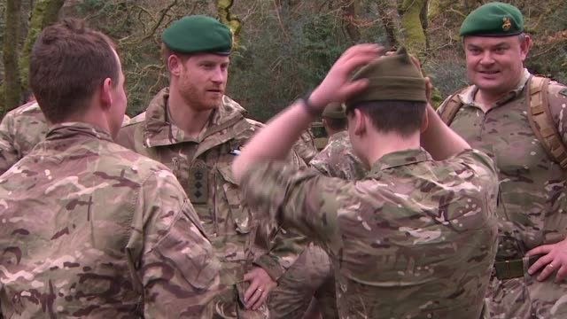 prince harry attends royal marines passing out ceremony; england: devon: bickleigh: 42 commando royal marines: ext prince harry, duke of sussex... - military recruit stock videos & royalty-free footage