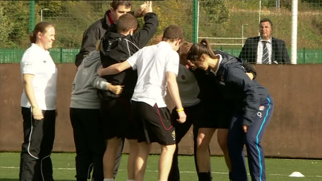 prince harry attends rugby festival at eccles rfc shows exterior shots prince harry taking on role of hooker in a practice scrum with rugby players... - jugendmannschaft stock-videos und b-roll-filmmaterial
